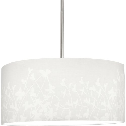 Progress Lighting P8768-01 Modular Pendant System Choose Shade and 1-Light Stem (P5198) Or 3-Light Stem (P5199) To Make Complete Fixture 22-Inch Floral Fabric Shade, Floral Fabric