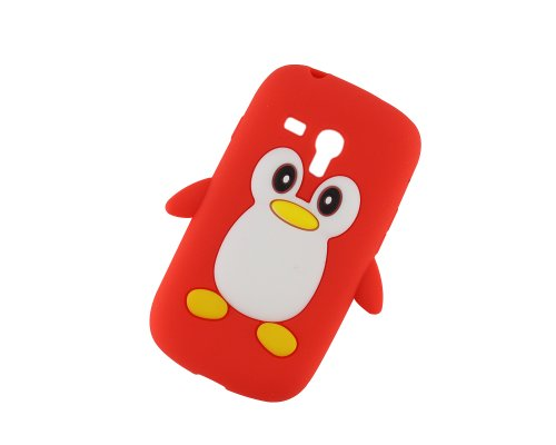 Cute Pinguin Soft Gel Rubber Silikon Tasche Case Cover Hülle Samsung Galaxy S3 SIII Mini i8190 Rot