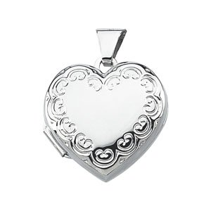 Elegant and Stylish 23.75X18.00 MM Heart Shaped Locket in Sterling Silver , 100% Satisfaction Guaranteed.