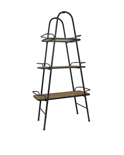 Three Hands Wood & Metal 3-Tier Shelf, Natural