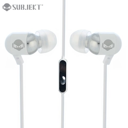 Subjekt Rav-M8952 Rave Earphones With Powerful Bass With Microphone - Retail Packaging - White
