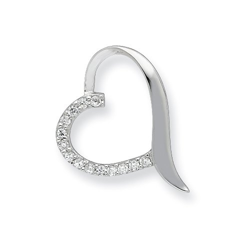 Sterling Silver CZ Heart Slide Pendant