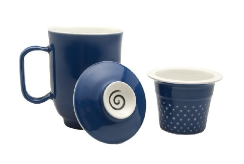 The Tea Spot Steeping Mug, 3-Piece Handcrafted Porcelain Ceramic Tea Mug with Infuser & Lid, 16-Ounce, color: Blue Sky
