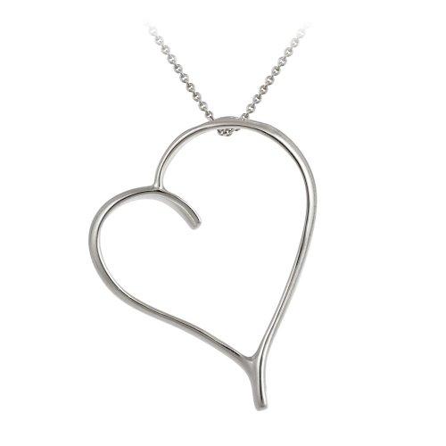 Sterling Silver Asymmetrical Open Heart Pendant Necklace, 18