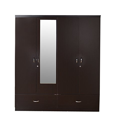 HomeTown Utsav Four-Door Wardrobe with Mirror (Wenge)