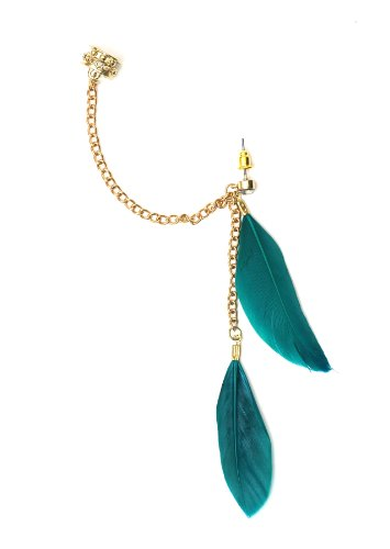 Feather Stud Earring Ear Cuff Metal Green Wrap Gold Tone Art Deco Chandelier Earring Fashion Jewelry