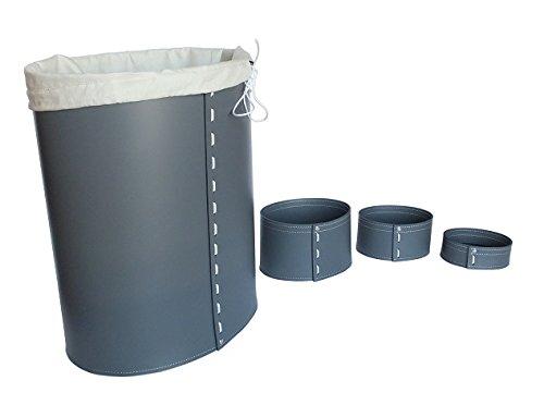 KOME 533: Set svuota tasche in cuoio rigenerato composto da 3 pezzi, colore Grigio Antracite.