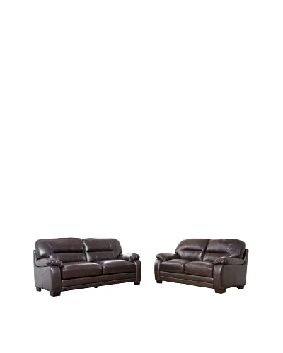 Abbyson Living Brenteena Leather Sofa and Loveseat Set, Dark Truffle