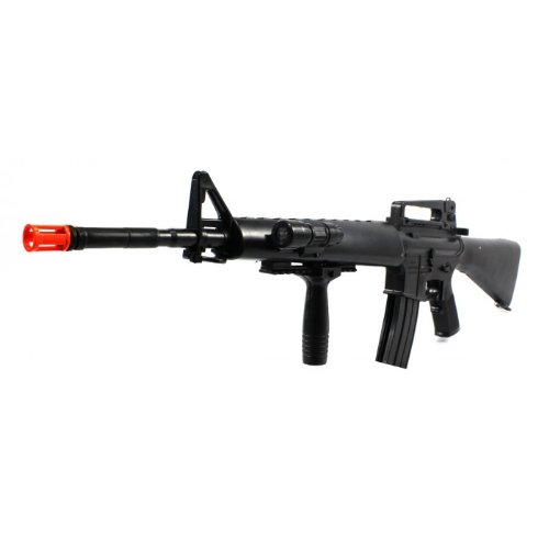 Black Guard M16-A2 Spring Airsoft Gun Rifle Flashlight FPS-250