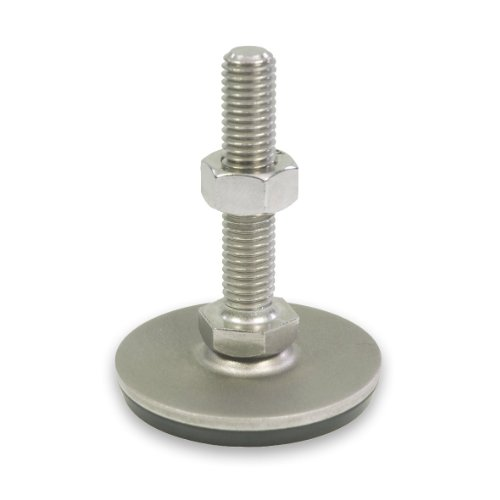 J.W. Winco 6T75SA5/GV Series GN 440.5 Stainless Steel Leveling Feet with Rubber Pad, Inch Size, 3/8-16 Thread Size, 1.57