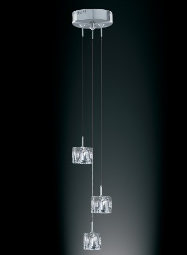 Ice Cube 3 Light Pendant With Concave Ice Glass 3X20 Watt Halogen Lamps