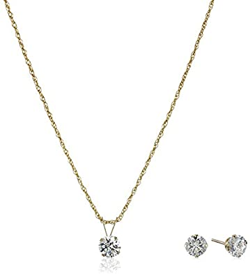 10k Gold Swarovski Pendant Necklace and Earrings Jewelry Set