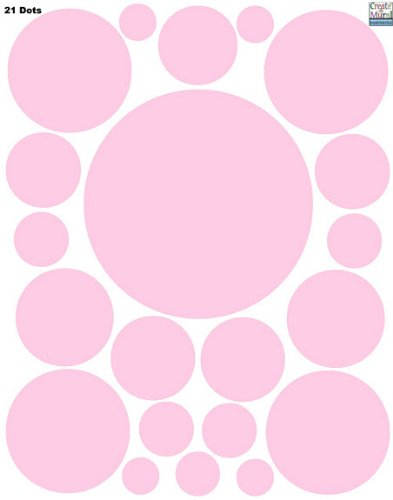 Wall Dots-(21) Soft Pink Polka Dot Wall Sticker Appliques - 1