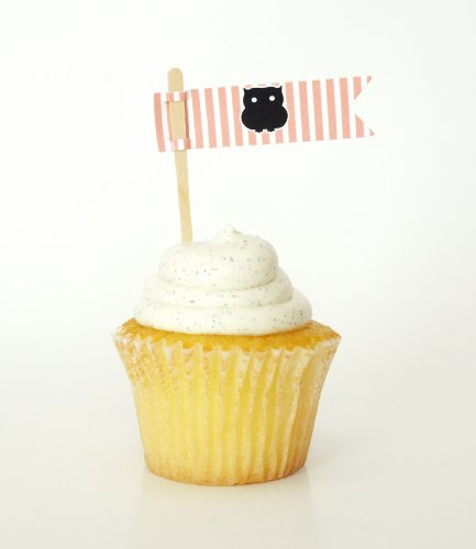 Owl Flag Banner Stick Cupcake Toppers, Pink Stripes (Set Of 12) - Kids Birthday Party Or Girl Baby Shower Decor front-843927