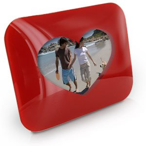 Red Glass Love Heart Photo Frame