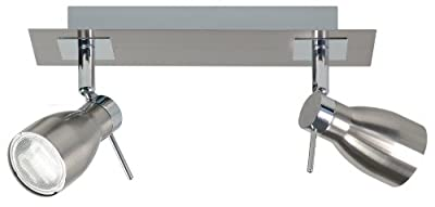 Ranex Bram BYR2608006 Surface Mounted Chrome/brushed Steel Duo Bar Spotlight, 100 x 100 x 140mm, 2x GU10ESL/9W Bulbs Included