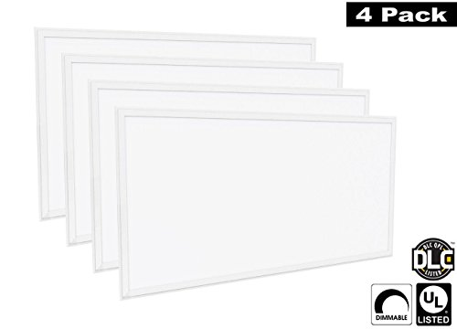 Luxrite LR24059 (4-Pack) 72W 2×4 FT LED Panel, Dimmable, Daylight White 6500K, 6500 Lumens, 24×48 Inch, UL-Listed, DLC-Listed (Eligible for Rebate Programs)