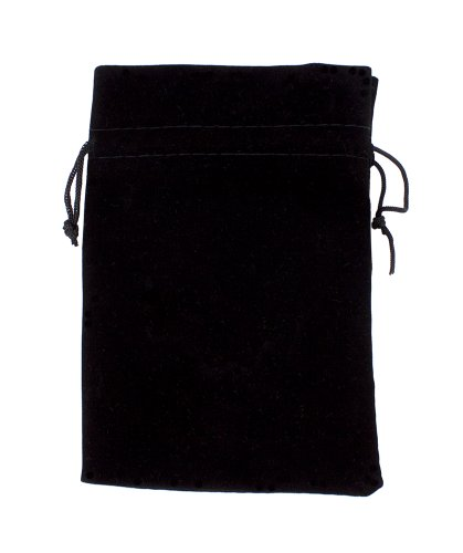 "Large 7"" x 5"" Black Velour Pouch with Drawstring by Wiz Dice (Plain)"