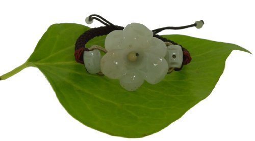 Just a Simple Carving of an Amaryllis Flower Embellished with Oval Jade Beads on Each Side Made with Brown Cord