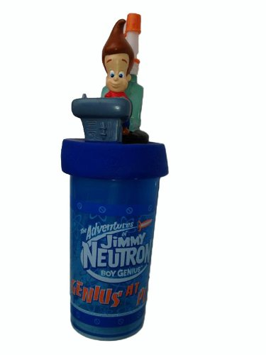 jimmy-neutron-by-viacom-super-cooler-trinkbecher-mit-deckel-strohhalm-2003-vintage-dreidimensionale-