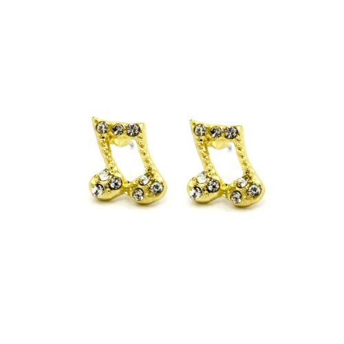 Mens & Lady 10Mm Gold, Silver, Black Or Red Plated Music Note Quaver Shape With Crystal Earrings Cz Hip Hop (Gold With Clear)