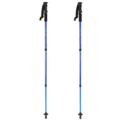 Image® Blue Pair 2 Adjustable Outdoor Trekking Hiking Lightweight Stick Pole Alpenstock Telescoping Anti Shock Nordic Walking Mountaineering (6061 Aluminum)
