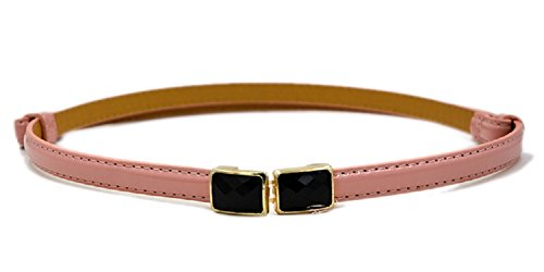 New Classy Womens Skinny Leather Belt with Shiny Buckle Pink
