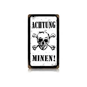 Amazon.com: Past Time Signs V016 Achtung Minen Axis Military Vintage
