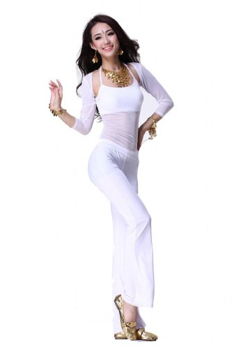 Feimei Women's Belly Dance Costume 3pcs/set(Sleeves+Top+Pants)
