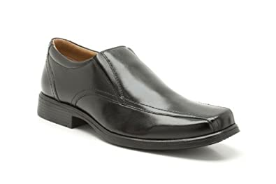 Clarks Mens Smart Hold Tough Leather Shoes In Black Standard Fit Size 6