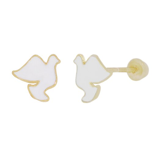 14k Yellow Gold, White Enamel Coated Mini Bird Dove Design Stud Screw Back Earring