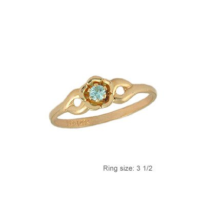 14k Yellow Gold Mini Size Child or Adult Pinky Ring Created CZ Band Design