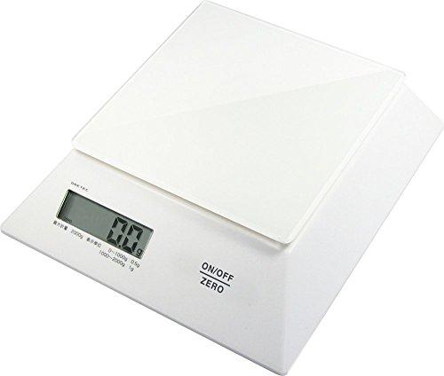 DRETEC デジタルスケール 「パルテノ」 2kg 【ガラス製計量皿/表示が隠れない台形ボディ】 ホワイト KS-244WT