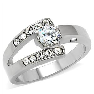 STAINLESS STEEL RING - 6 Prong Small Cubic Zirconia Promise Ring
