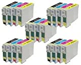 5 X SETS Compatible T0715 (T711-T714) 5 x Full Sets of High Yield (19ml) Black/Cyan/Magenta/Yellow Ink Cartridges for Epson Stylus D78 D92 D120 DX4000 DX4050 DX4400 DX4450 DX5000 DX5050 DX6000 DX6050 DX7000F DX7400 DX7450 DX8400 DX8450 DX9400P S20 SX100/