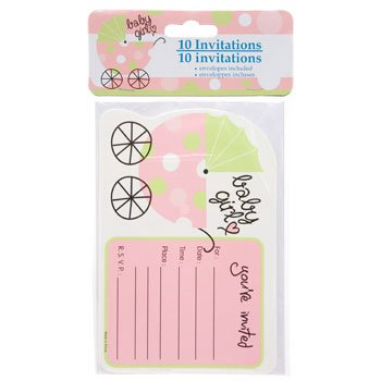 "Party ""Baby Shower"" Invitations with Envelopes, 10-ct. Packs (Baby Girl Pink) - 1"