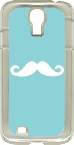 Baby Blue Mustaches On Samsung Galaxy S4 Rubber Case Cover (Baby Blue And White Mustache With Clear Side)