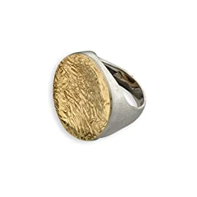 Two-Tone Etched Circular Ring in 14K Gold and Sterling Silver