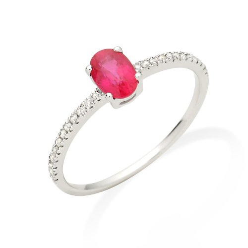 Ruby Ring, 9ct White Gold, Diamond Setting, Size