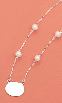 7mm White Cultured Pearl Sterling Silver Necklace, 16 inch, 3/4 inch Oval ID Tag