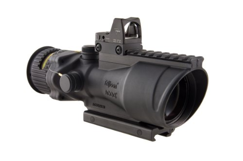 Trijicon Acog 6X48 Machine Gun Optic, Dual Illuminated Amber Chevron .308 Ballistic Reticle, 6.5 Moa Rmr Sight, And Ta75 Mount (Black, 0.308 Reticle)