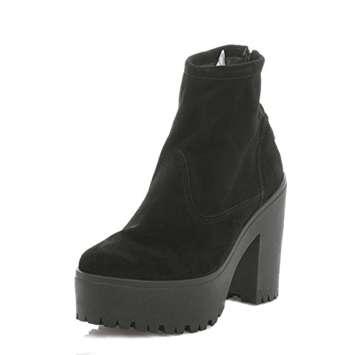 Shellys Donna Nero Meagan Scamosciato Heeled Stivali-UK 8