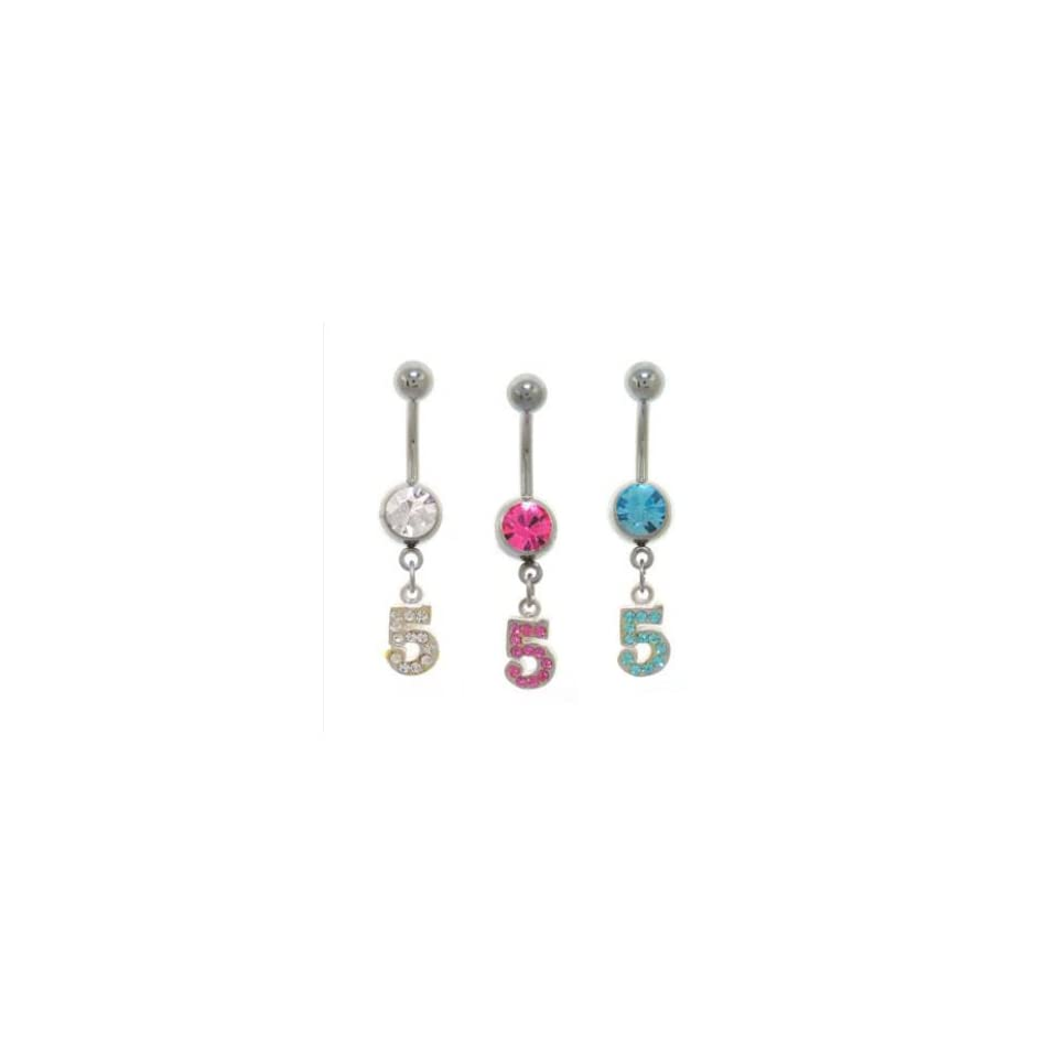 316L Surgical Steel Clear Number 5 Belly Ring   14g (1.6mm), 3/8 (10mm) Length   Sold Individually