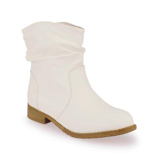 Damen Herbstboots Damenstiefel Boots Stiefelette Damenschuhe M4-weiß 36