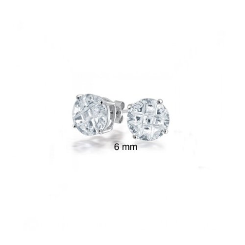 Bling Jewelry Sterling Silver Basket Set Round Invisible Cut CZ Men Unisex Stud Earrings (0.75ct 6mm)