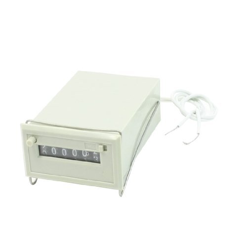 Water & Wood Csk6-Ckw Ac 220V 6 Digits 2 White Wire Lockable Electronmagnetic Counter