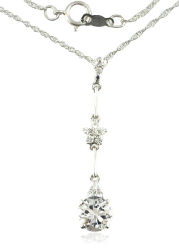 Sterling Silver Created White Sapphire Dangle Pendant Necklace, 18