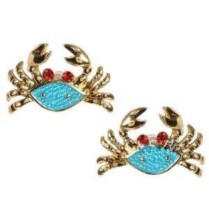 Mermaid Tale Blue Red Crab Crabs Mermaid's Stud Earrings in Gift Box!