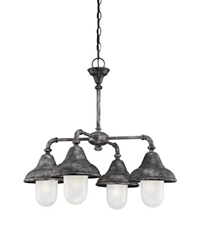 Nuvo Lighting Sutton 4-Light Chandelier, Industrial Iron/Frosted