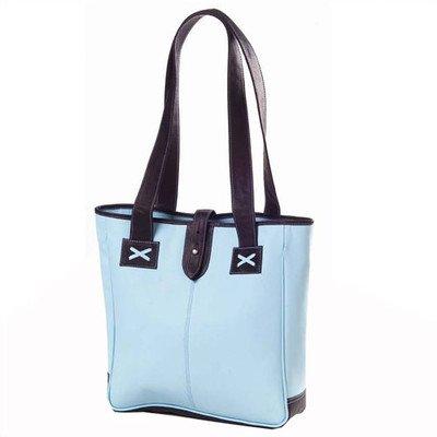 ClavaColored Vachetta Small Open Tab Tote Bag Color: Blue/Café
